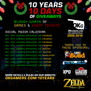 OKgamers.com Celebrates 10 Years with 10 Days of Giveaways!